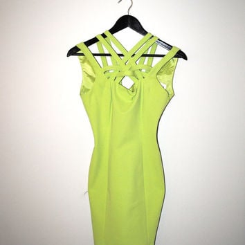 90s bodycon dress early 1990s club kid lime green ribbed bondage cage mini dress small