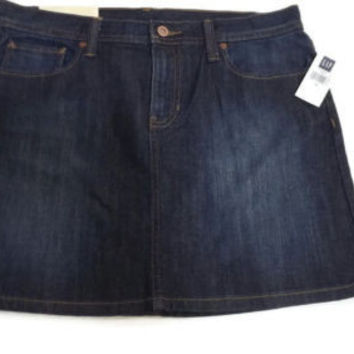 NEW GAP Jeans Womens Cute Short Jean Skirt w/ Rustic Gold Fleur-de-Lis Size 8