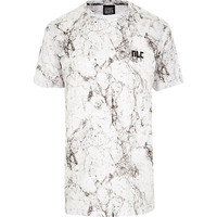 River Island MensWhite New Love Club marble t-shirt