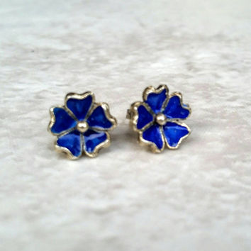 Vintage Sterling Silver Blue Enamel Flower Earrings by Italian Silversmith Ditto L'orafo di San Seba Stiano - RARE - Boho Chic - Art Deco -