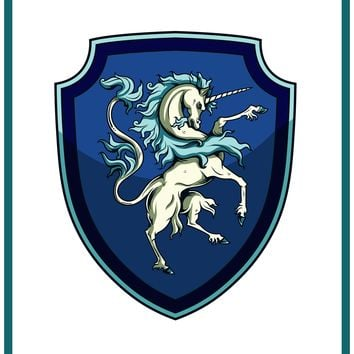 Unicorn Crest Coat of Arms inspired by a  Medieval Tapestry Counted Cross Stitch or Counted Needlepoint Pattern