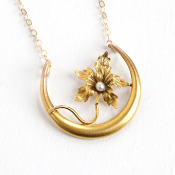 Antique Art Nouveau 10k Yellow Gold Crescent Moon & Flower Necklace - Early 1900s Seed Pearl Horseshoe Fine Pendant Victorian Jewelry