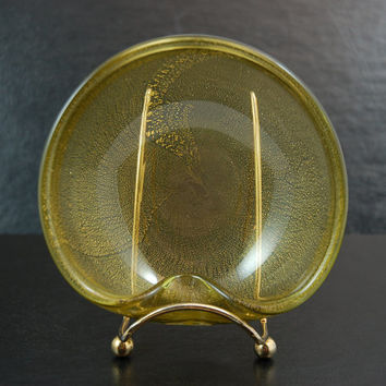 Vintage Olive Green Glass Cigar Ashtray with Gold Leaf Flakes, Mid Century Murano Art Glass Style