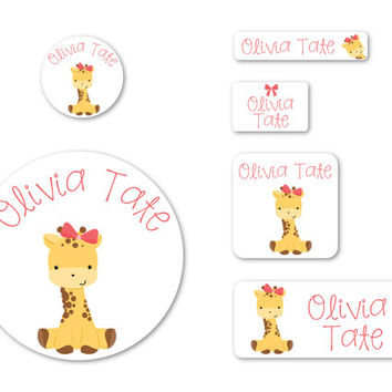 All Dressed Up | Little Giraffe with Her Pink Bow | Personalized Waterproof Name Labels for Baby & Kids