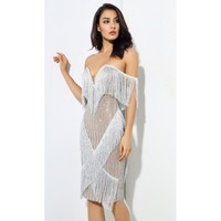 Silver Fringe Party Dress, Made to Order