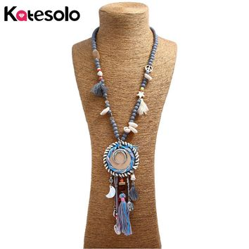 Woman's New Fashion Vintage Necklace Bohemian ethnic Handmade Wood Beads Strand Colorful Tassel Long pendant Necklaces