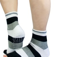Black, White and Grey Half Toe Yoga/pilates Toe Socks with Grips By K. Bell