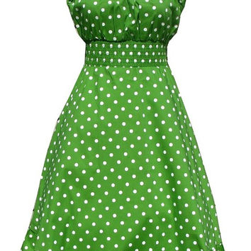 Sara USA Lime Green White Polka Dot Peasant Dress