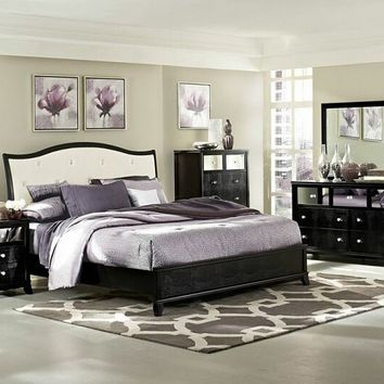5 pc Jacqueline collection black finish wood tufted headboard queen bedroom set