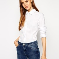 ASOS Shirt With Pleat Detail Collar at asos.com