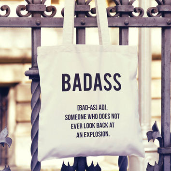Badass Definition Shopper Tote Bag  | Market Bag | Shopper Bag | Beach Bag | Travel Bag | Funny Bag | Shoulder Bag