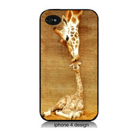 Iphone 4 case, Giraffe Kisses, iphone 4/4s cover