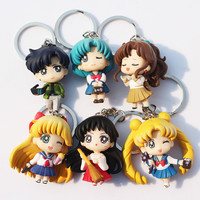 6pcs/set Q Verison Sailor Moon Keychain Pendant Tsukino Usagi Sailor Mars Jupiter Venus Mercury Tuxedo PVC Figure Toys