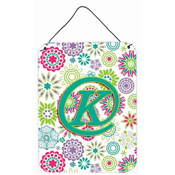 Letter K Flowers Pink Teal Green Initial Wall or Door Hanging Prints CJ2011-KDS1216