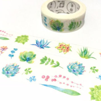 Succulent plant washi tape cute plant fat plant Green plant potted plant Masking tape plant diary gardening planner scrapbook decor gift