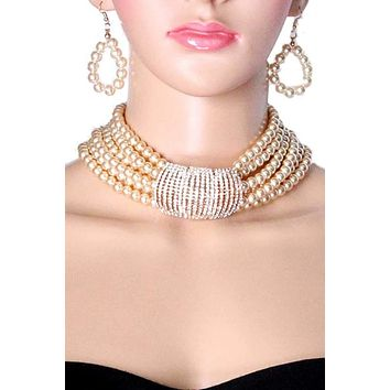 Pearl Choker Necklace & Earrings Set