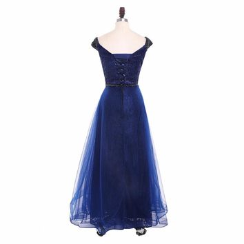 Elegant Formal Evening Dress V Neck A Line Cap Sleeves Long Evening Dresses Floor Length Party Gowns