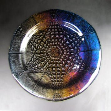 Star Mandala Plate, Six Pointed Star Design in Black Iridescent Glass, Rainbow Mandala plate