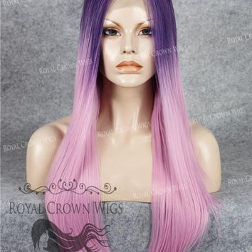 """24"""" Heat Safe Synthetic Straight Texture Lace Front """"Aphrodite"""" in Purple Root Ombre"""