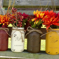 Fall Home Decor. Fall Mason Jars. Painted Distressed Vintage Looking Mason Jars. Rustic Home Decor. Wedding Decor. Thanksgiving House Wears