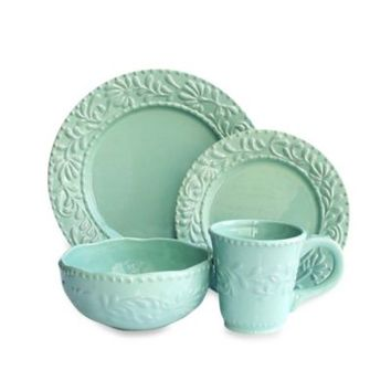 American Atelier Bianca Leaf 16-Piece Dinnerware Set in Jade