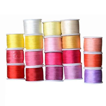 Warm Colors,2 mm 1/16 inch Wide 100% Pure Mulberry Silk Ribbon for Embroidery Handcraft Double Faced Thin Taffeta Silk Trim