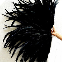 Black Raven Grand Deco Feather Fan Las Vegas Showgirl Burlesque Huge 42X27 Dance Fan