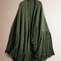 Fringe Detail Knitted Cashmere Poncho