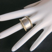 Vintage Sterling Silver Two Toned Braided Ring, Wide Tapering Band, Size 8