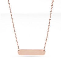 Plaque Rose Gold-Tone Steel Necklace