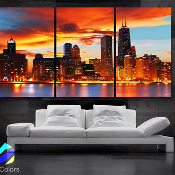 "LARGE 30""x 60"" 3 Panels Art Canvas Print Beautiful Chicago skyline Sunset light Wall Home (Included framed 1.5"" depth)"
