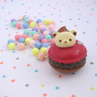 Kawaii Cute Red Velvet Rilakkuma Bear Macaron Candy Rainbow Necklace. Sweet Lolita Fairy kei Necklace