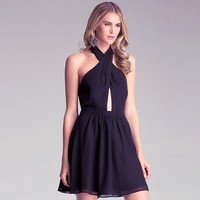 Black Cross Neck Cutout Ruched Backless Skater Dress
