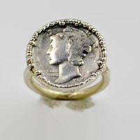 Genuine Mercury Dime Coin Ring