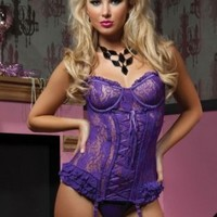Seven Til Midnight Women's Paisley Please Bustier And Thong, Purple, Large