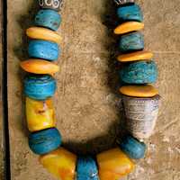 Antique African Hebron Necklace 1800s with Antique Mali Clay Spindle African Bone and Chunky Golden Beeswax Ethnic African Jewelry