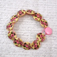 Pink Roses Wooden Button Bracelet, Non Metal Jewelry