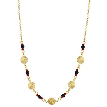 """18k Gold Plated St Benedict Medal Necklace Evil Eye Protection Simulated Azabache 17"""""""