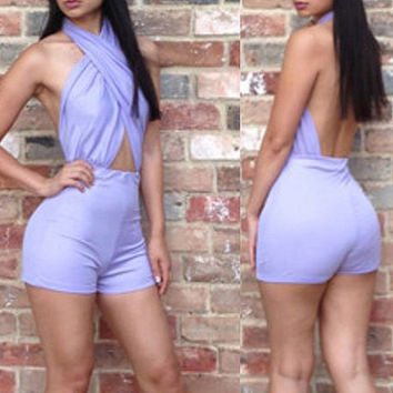 Purple Cross Halter Romper