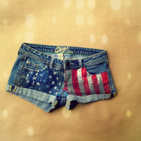 US flag denim shorts