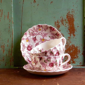 Vintage Copeland Spode Tea Cups and Saucers, Set of Two Rosebud English Chintz Pattern Teacups, Pink Roses Dinnerware, Cottage Wedding Decor