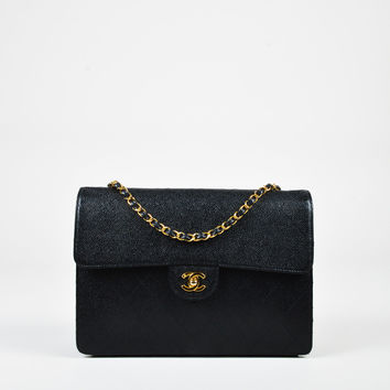 "Chanel Vintage Black Caviar Leather Quilted Jumbo ""Single Flap"" Bag,shoulder bag stylish Soft Trendy"