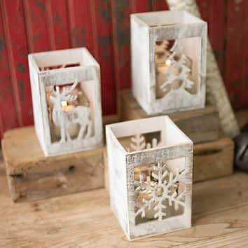 Wooden Christmas Candle Holders with Glass Inserts (Set of 3)