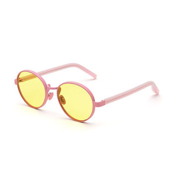 Super by Retrosuperfuture Matte Round Sunglasses, Yellow/Pink