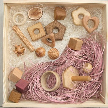 Baby Wooden Tactile Box Montessori Fine Motor Skills Sensory set Handmade eco friendly Learning toys for kids Baby Shower Gift Idea Heirloom