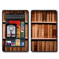 Old Library Books on Bookshelf Vintage Look  Kindle Fire Vinyl Wrap by ItsASkin