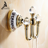 Free Shipping Crystal Robe Hook Clothes Hook Brass Chrome Finish Bathroom Hardware Robe Hooks Bathroom Accessories 6306