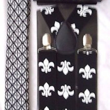 FLEUR DE LIS NEW ORLEANS SAINTS NeckTie,Bow tie & Adjustable Y-Back Suspenders