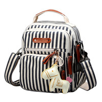 Women Canvas Casual Horse Pendant Multi-pocket Shoulder Bags Handbags