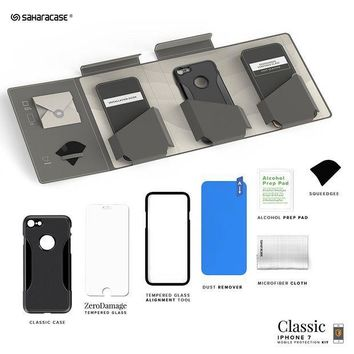 CREYON2D iPhone 7 Case, SaharaCase Protective Kit Bundle with [ZeroDamage Tempered Glass Screen Protector] Rugged Protection Anti-Slip Grip [Shockproof Bumper] Slim Fit - Black Gray